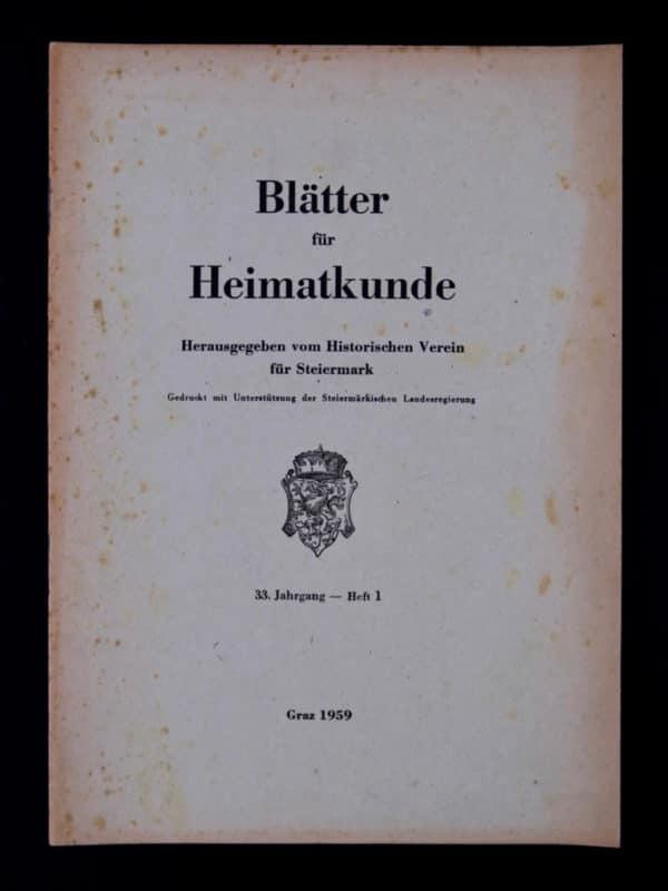 Stieglerhaus Archiv Blätter Heimatkunde