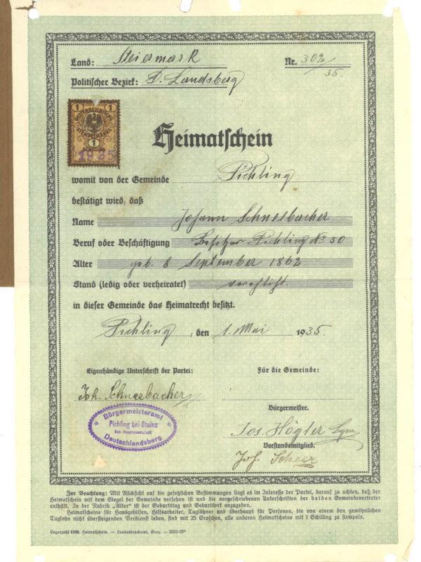 Stieglerhaus Archiv Heimatschein Johann Schneebacher 1935
