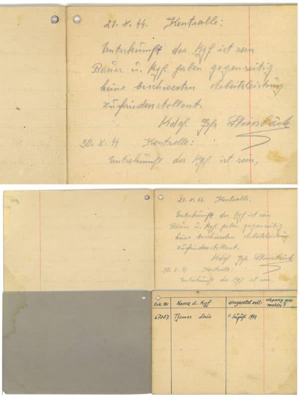 Stieglerhaus Archiv Arbeitskontrollbuch