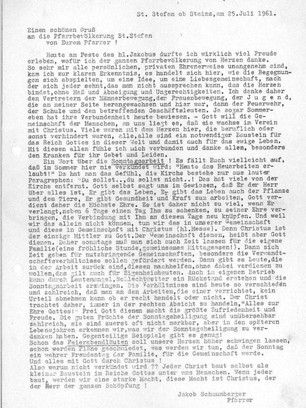 Stieglerhaus Archiv Brief Pfarrer Schaumberger