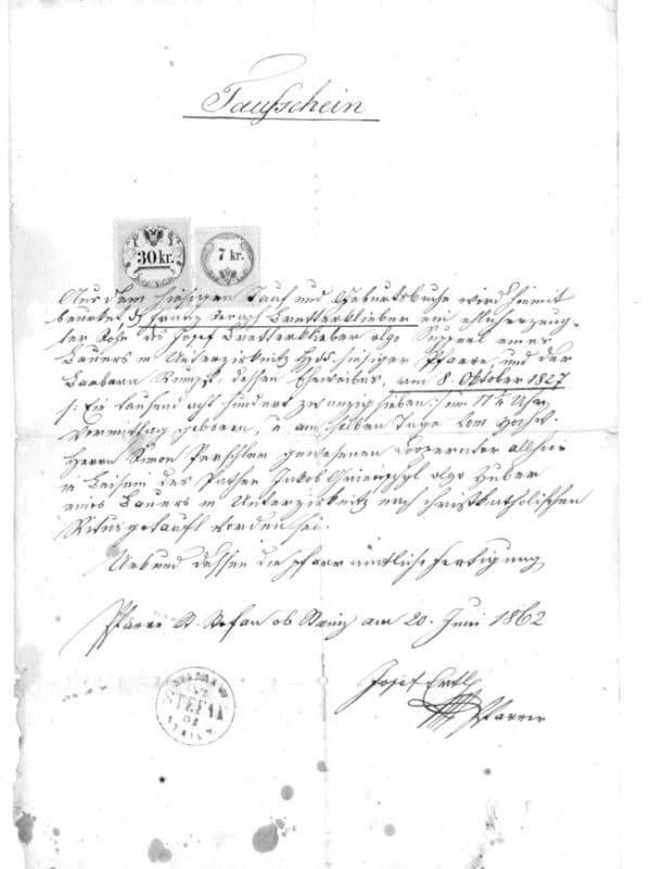 Stieglerhaus Archiv Taufschein St. Stefan ob Stainz 1862